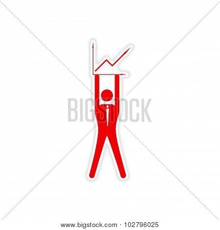 stylish sticker on paper man holding graph
