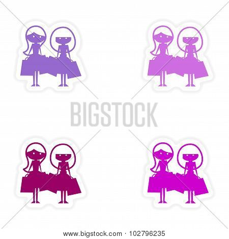 assembly realistic sticker design on paper girlfriends shopping
