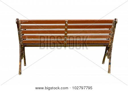 Wooden Park Bench With Sunlight,bench Chair In The Garden On Back View
