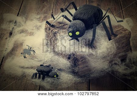 Composition For Halloween: Black Spiders Made Of Paper
