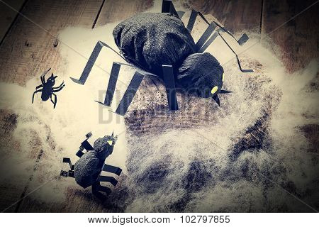 Decoration For Halloween: Black Spiders Made Of Paper