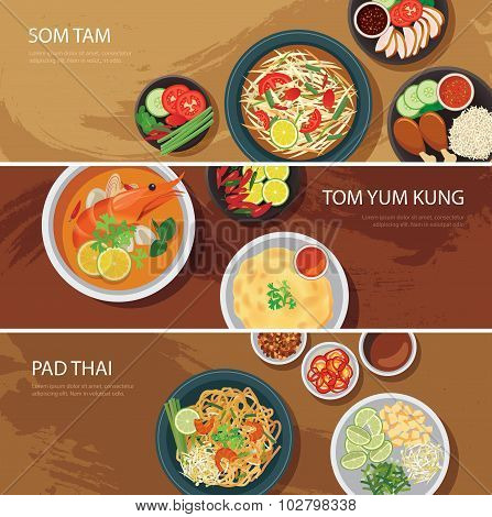 Thai Food Web Banner Flat Design.som Tam, Tom Yum Kung,pad Thai