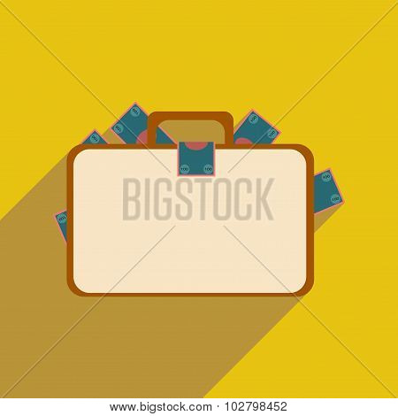 Flat with shadow icon case with money