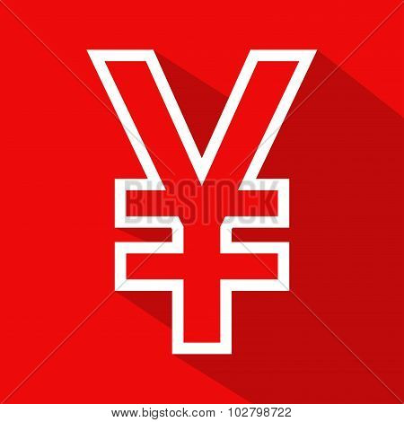 Yen flat line icon on blue background.
