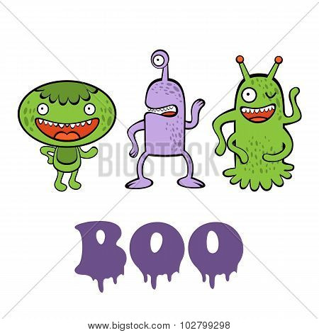 Boo card with three funny monsters