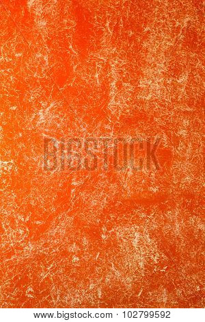 Orange Wall Painted With Textured Paint Roller