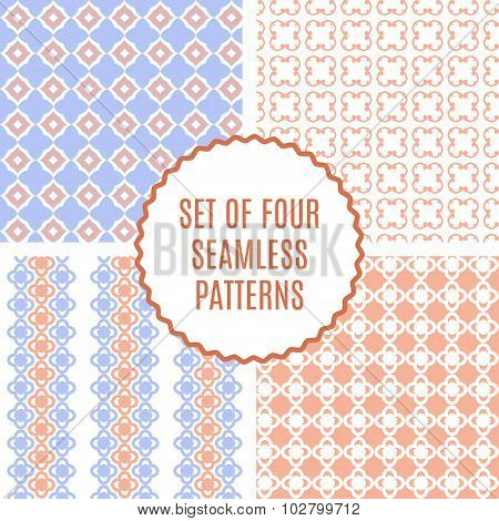 Vector Set Of Four Cute Patterns. Seamless Texture For Paper Or Scrap Booking.