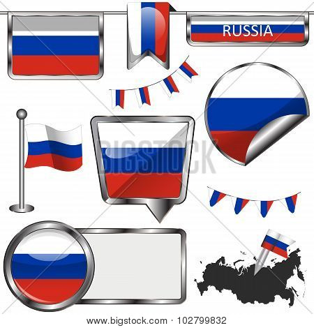 Glossy Icons With Flag Of Russia