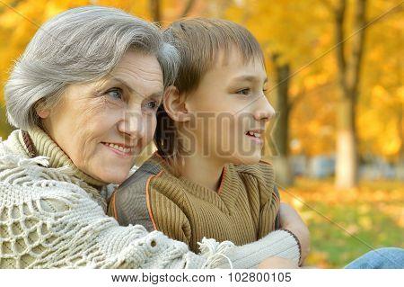 Happy grandmother with boy