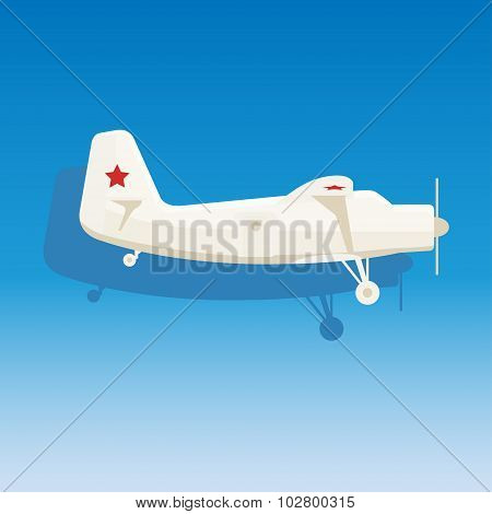 White Military Airplane With The Stars On Blue Background.