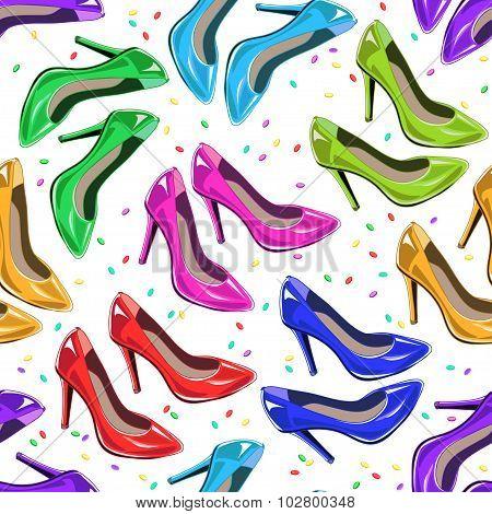 Seamless Pattern Of Woman Shoes.