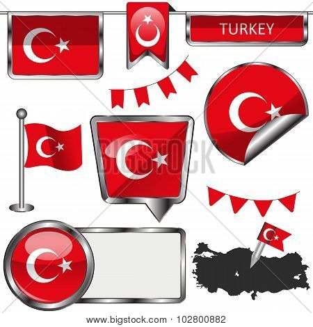 Glossy Icons With Flag Of Turkey