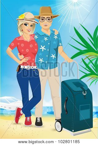 Man And Woman On The Beach. Summer. Sea. Vacation.