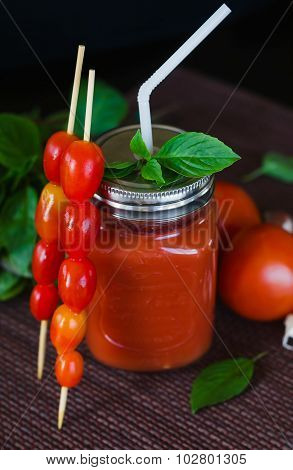 Tomato juice with garlic and basil