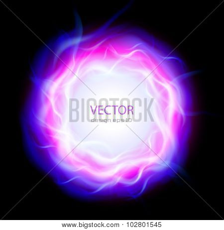 Abstract background with burning ring and blue flames, vector illustration.