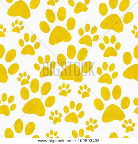 Yellow And White Dog Paw Prints Tile Pattern Repeat Background