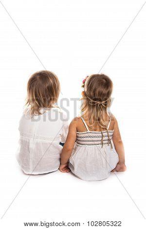 Girls Play, Back,  Talk, Children's Secrets, White Background