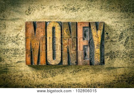 Antique Letterpress Wood Type Printing Blocks - Money