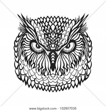 Zentangle stylized eagle owl head. Tribal sketch for tattoo or t-shirt.