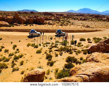 Off-road SUV with tourist on Altiplano