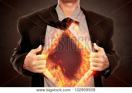 Business Man Open His Shirt With Fire Around