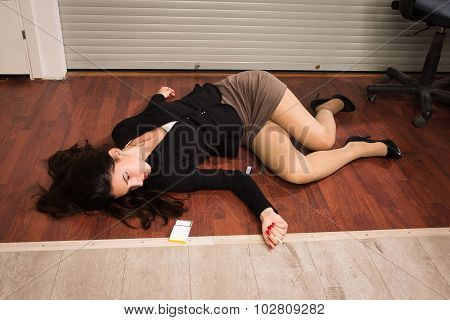 Lifeless Businesswoman In A Office