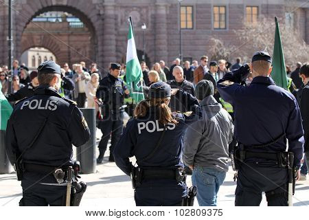 The police at a rally in the city