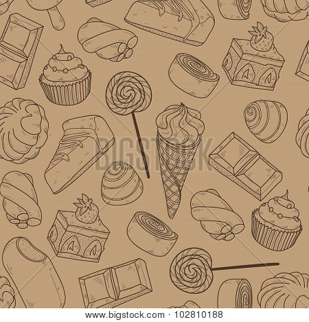 Vector Seamless Pattern With  Different Sweets