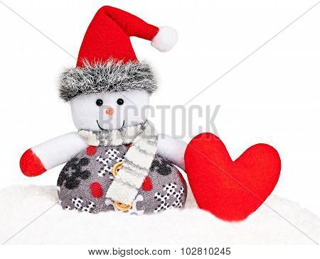 New Year 2016. Happy Snowman on snow with heart, love