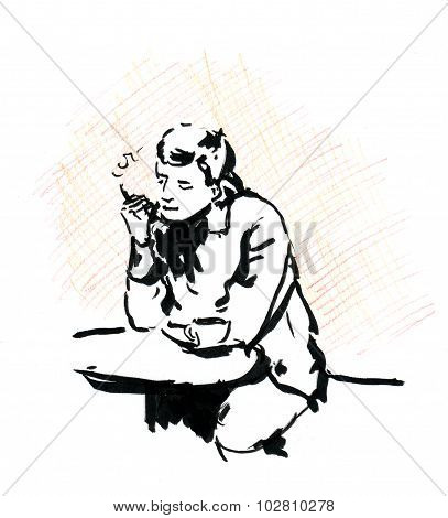 Smoking man in cafe with coffee cup and cigarette, sketch.