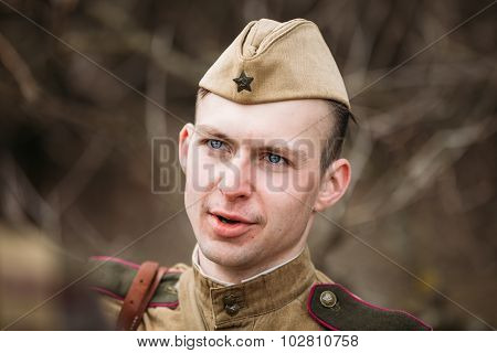 Unidentified young re-enactor dressed as Soviet soldier of Great