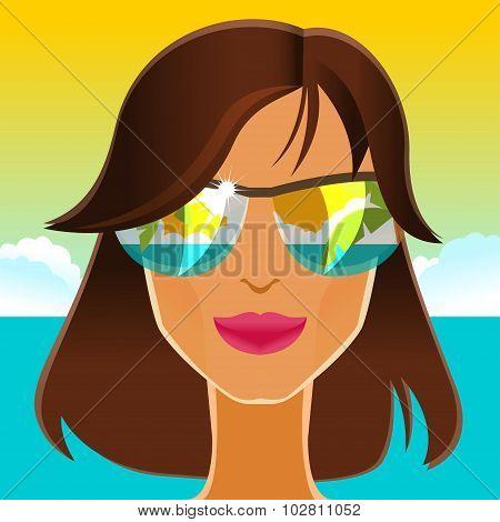 Beautiful Brunette In Sunglasses On The Beach. Vector Illustration.