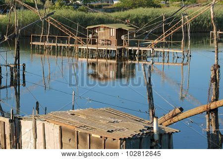 fishing huts on Port Milena near Ulcinj, Montenegro