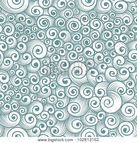 Vector seamless pattern of chaotic curls