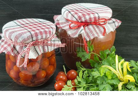 Jars Of Homemade Ketchup And Cherry Tomato Next To Fresh Cherry Tomato