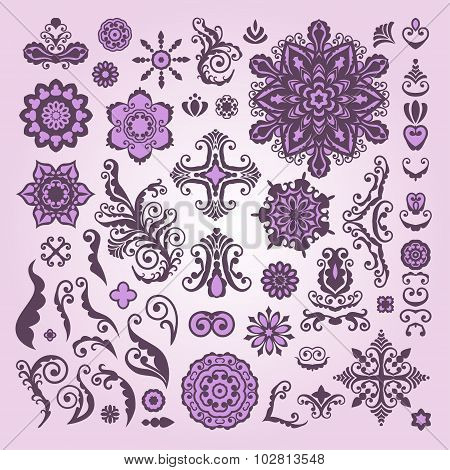Abstract Floral Illustration Design Elements On White Background. Lacy Embellishment.