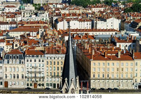 Lyon City Bird-fly View From The Hill