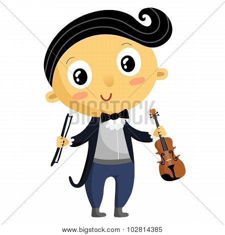 Kid Musician, Cartoon Character Isolated On White