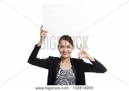 Young Asian Business Woman Show Ok With  White Blank Sign