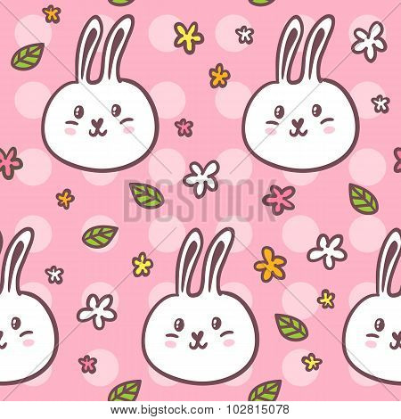 Cute Seamless Pattern With Doodle Rabbits And Flowers