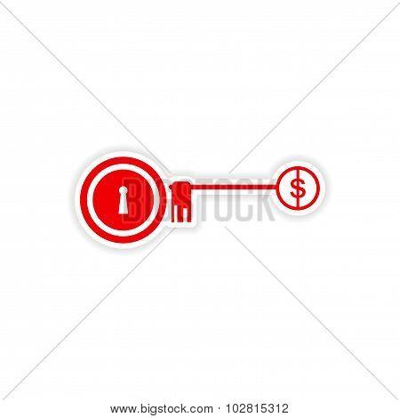 stylish sticker on paper key lock money