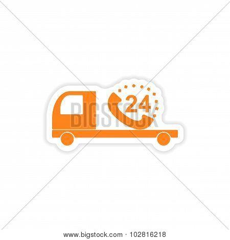 icon sticker realistic design on paper Truck service around clock