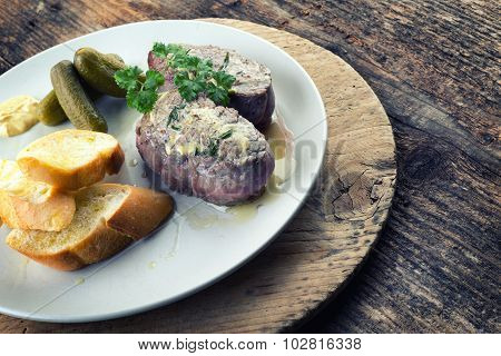 Beef Steak With Rosemary And Baguette