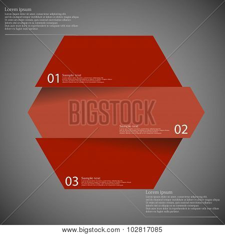 Infographic Template With Hexagon Divided To Three Parts On Dark