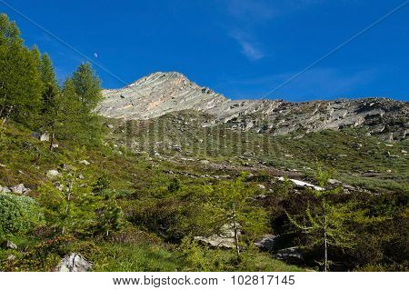 Mountain peak in Alps de Loie, moon, summer