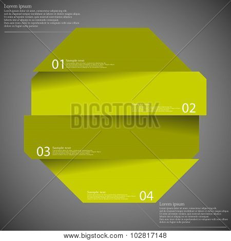 Infographic Template With Octagon Divided To Four Parts On Dark
