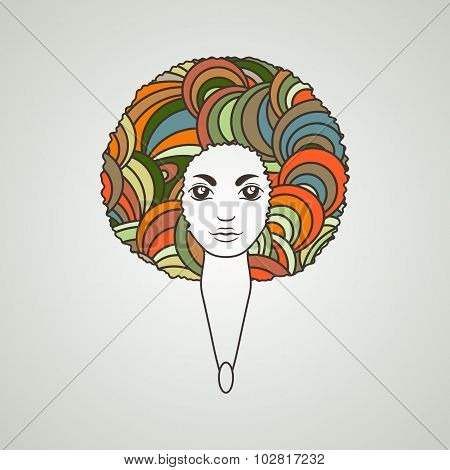 Portrait of a woman with luxuriant hair in the style of an African. Vector. The patterns in the hair