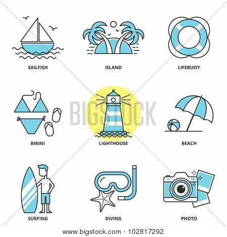 Sea And Summer Vector Icons Set