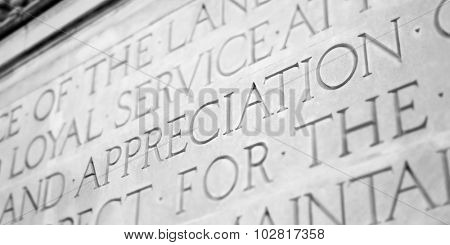 Word Carved in Stone Granite Appreciation