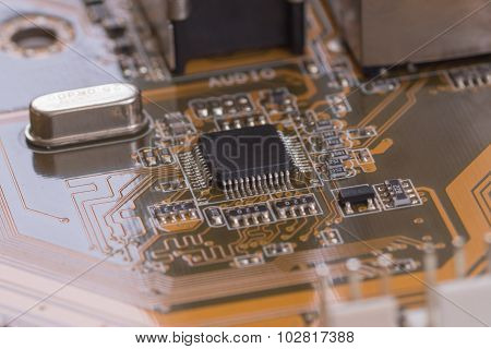 Closeup Brown Electronic Board With Small Depth Of Field 1